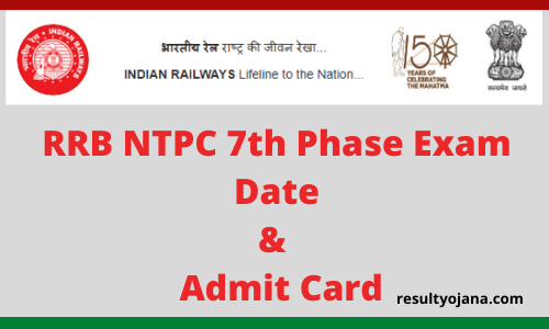 RRB NTPC 7th Phase Exam Date & Admit Card